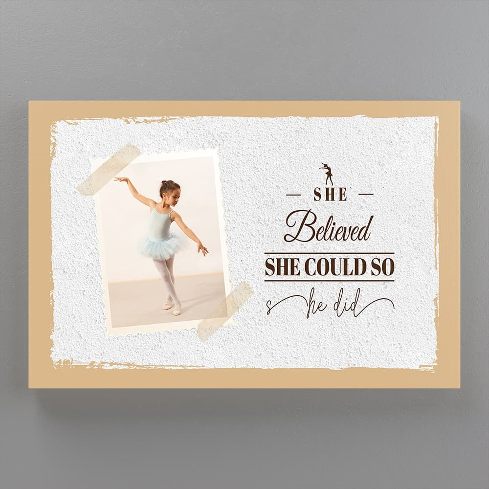 she believed she could so she did custom photo canvas white brick