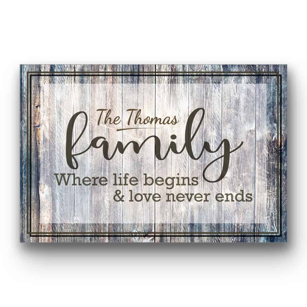 Family Where Life Begins and Love Never Ends custom canvas
