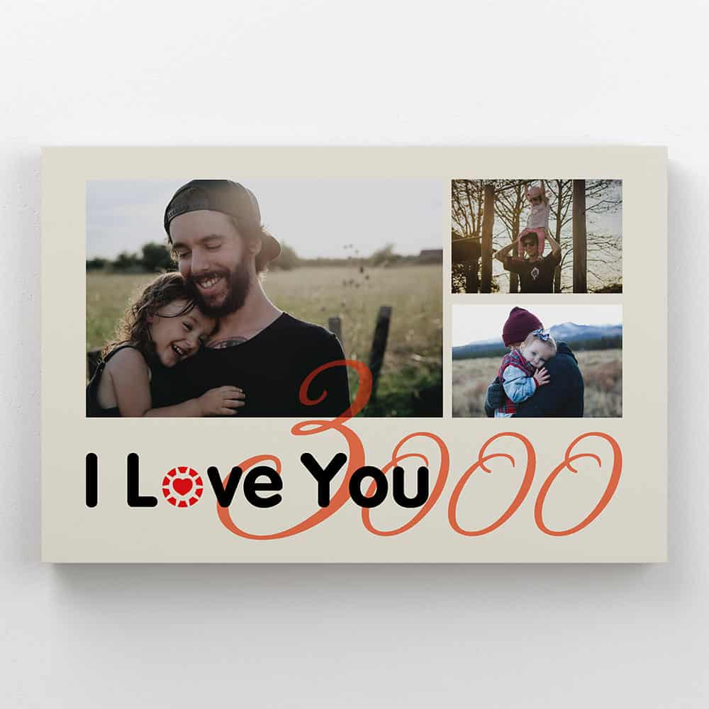i love you 3000 custom 3 photos canvas