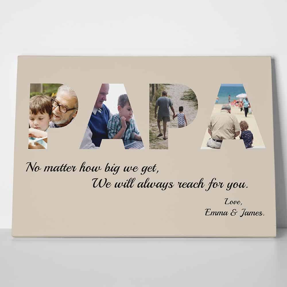 PAPA Custom Photo Canvas Gift