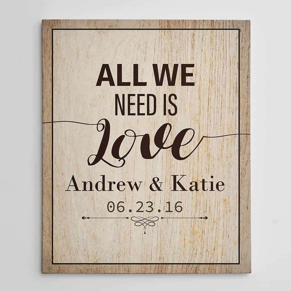 all we need is love square style personalized anniversary canvas gift