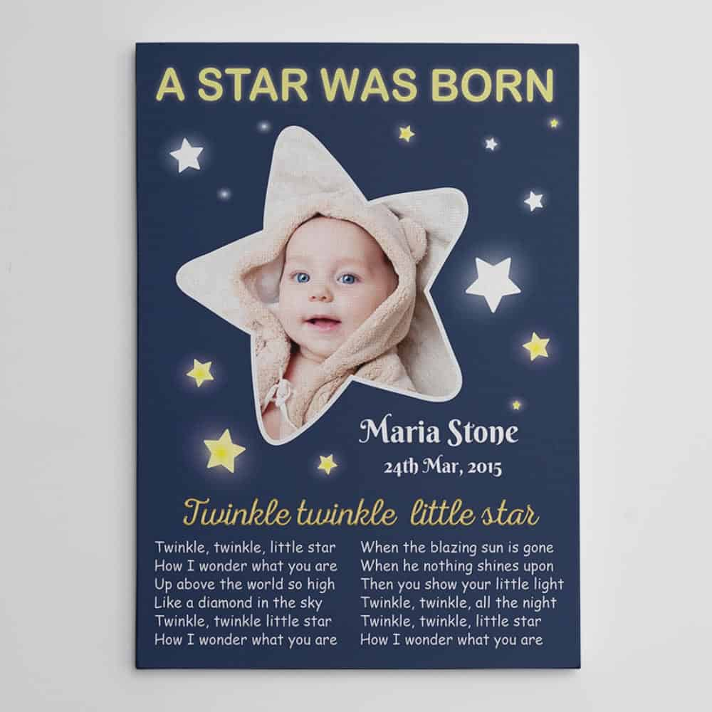 A Star Was Born Birth Announcement Custom Photo Canvas