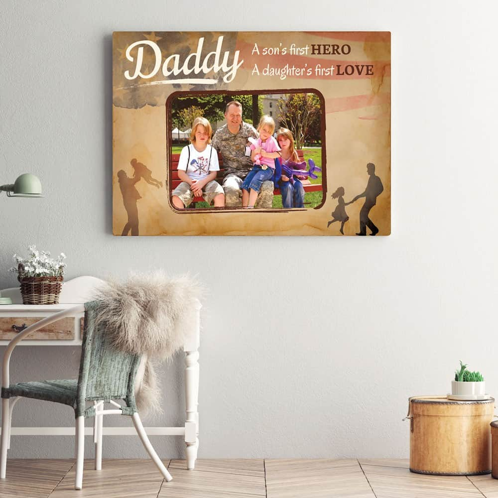 A Son's First Hero A Daughter's First Love Custom Photo Canvas