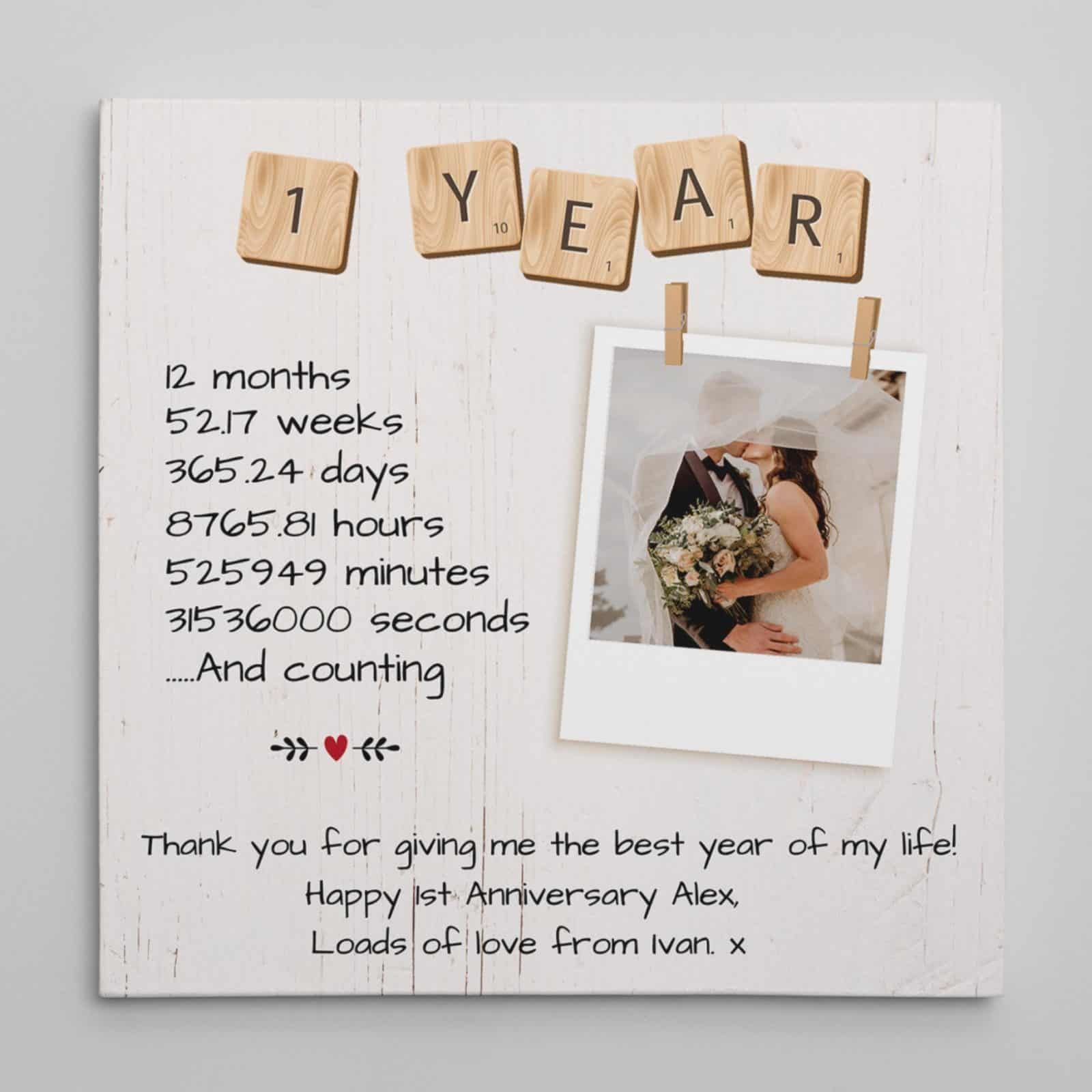 1 Year Anniversary Gift Custom Canvas Print