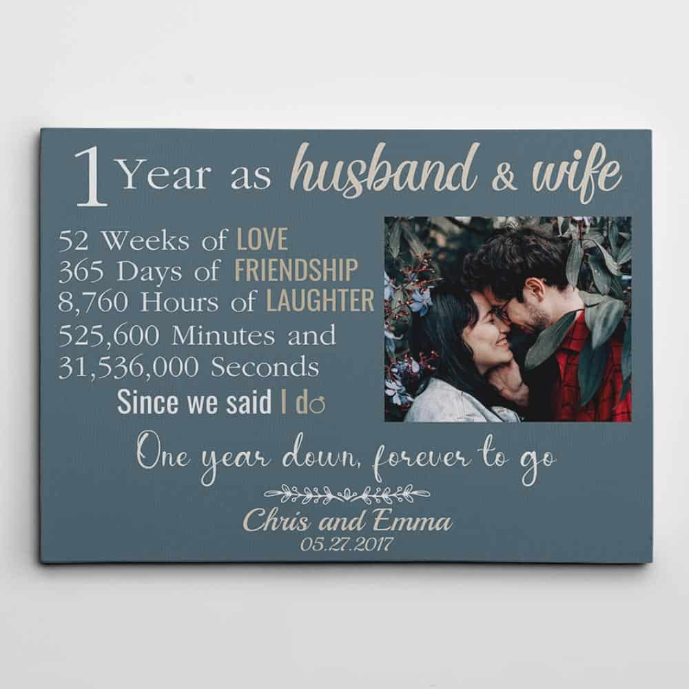 One Year Down Forever to Go First Anniversary Custom Photo Canvas Gift