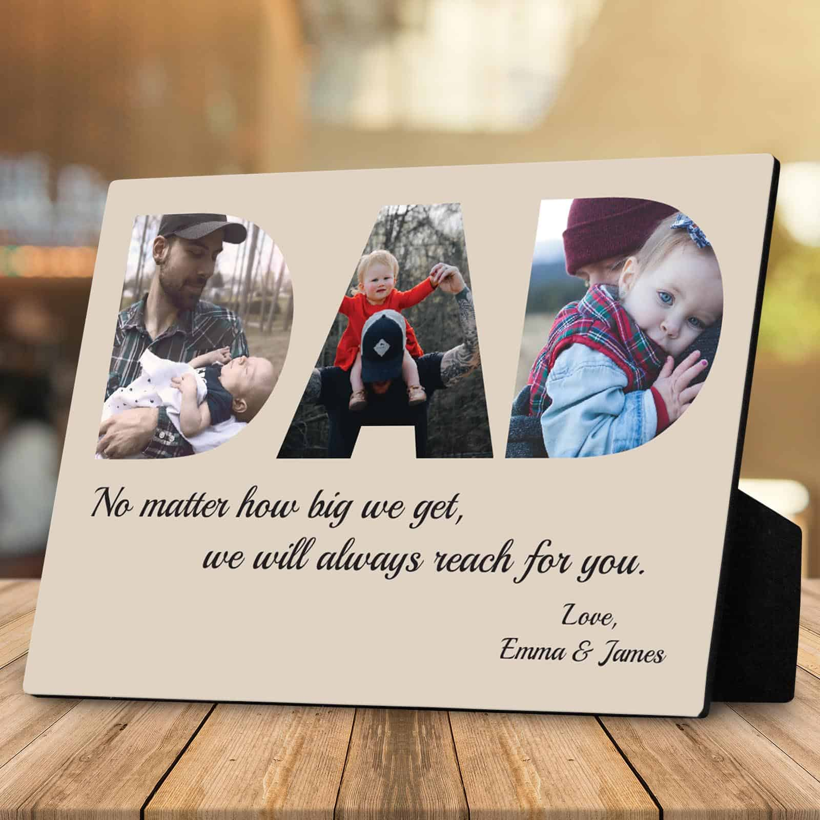DAD Custom Desktop Photo Plaque 3 Photos