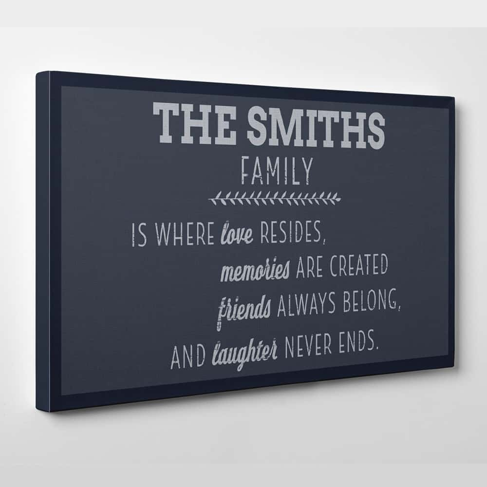 Family Is Where Love Resides Custom Canvas Print