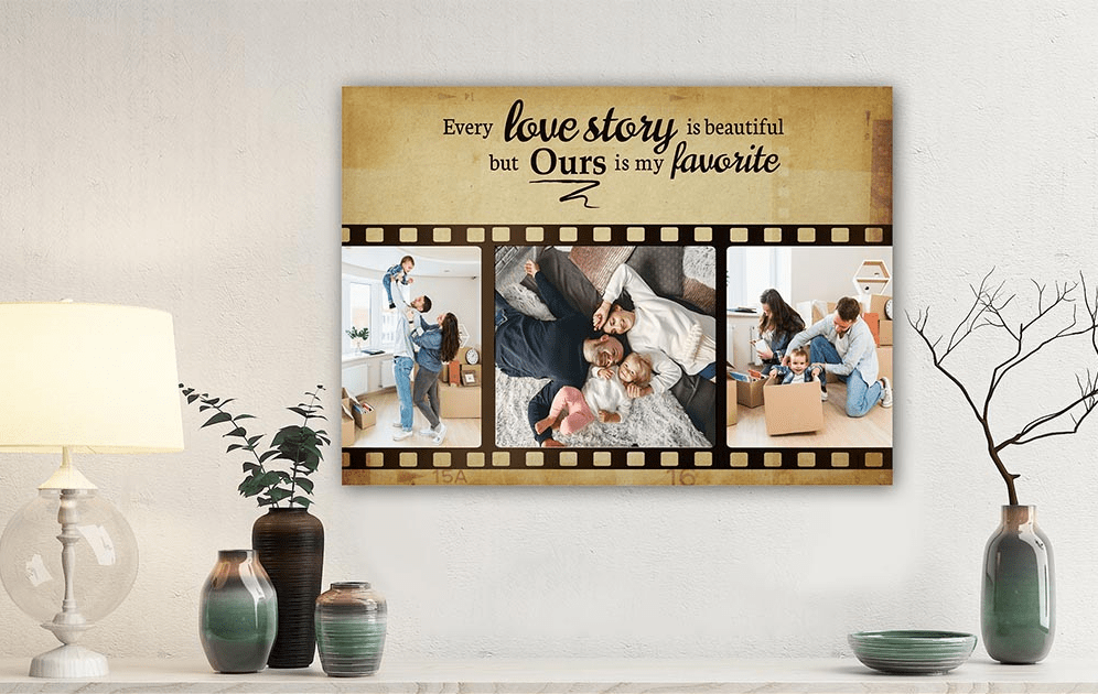 Anniversary Gifts For Couples - Every Love Story Is Beautiful Film Strip Custom Photo Canvas
