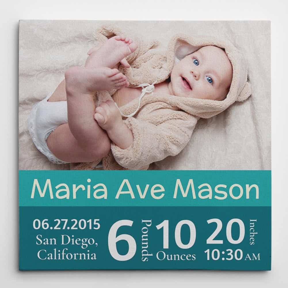 Baby Announcement Custom Birth Stats Photo Canvas