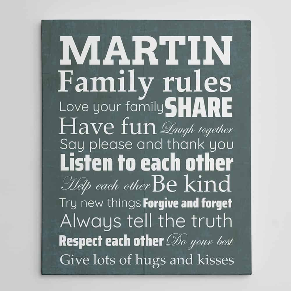Family Rules Custom Canvas Sign - Love Your Family