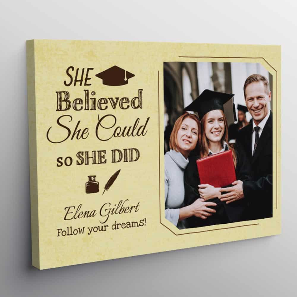 She Believed She Could So She Did Graduation Custom Canvas Print