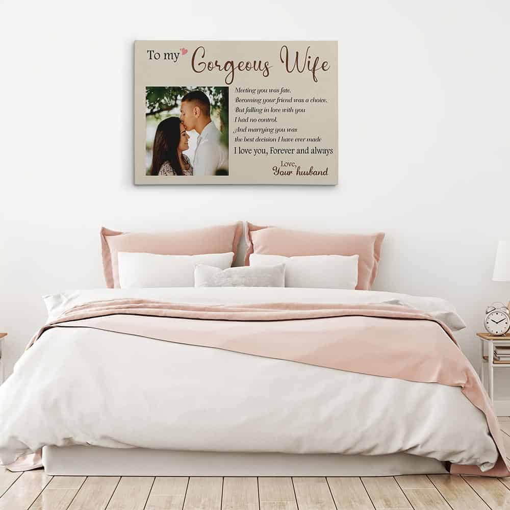 To My Gorgeous Wife Custom Photo Canvas