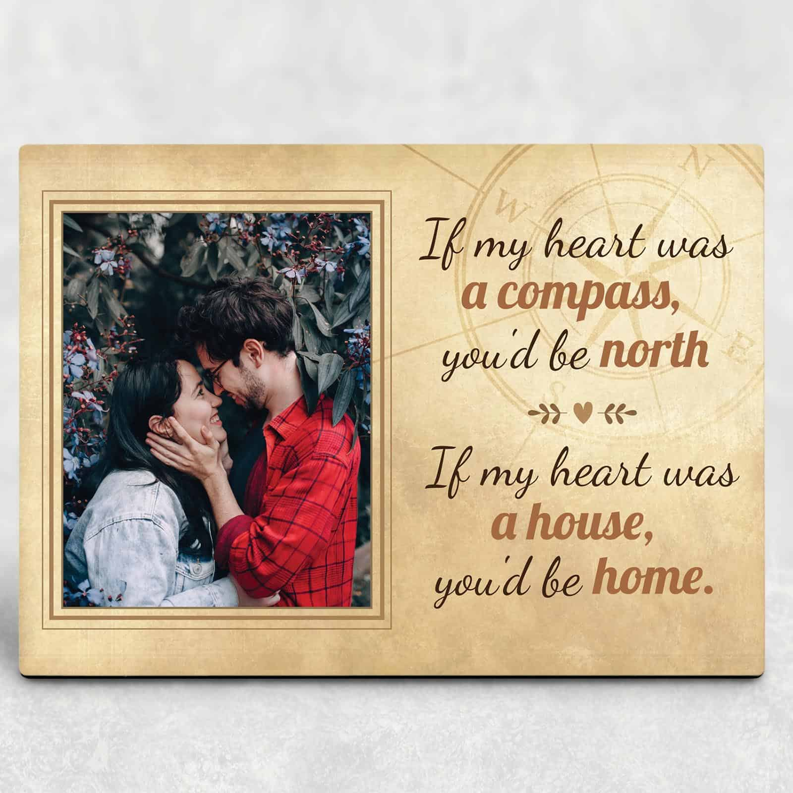If My Heart Was a Compass You'd Be North Photo Plaque on a desk