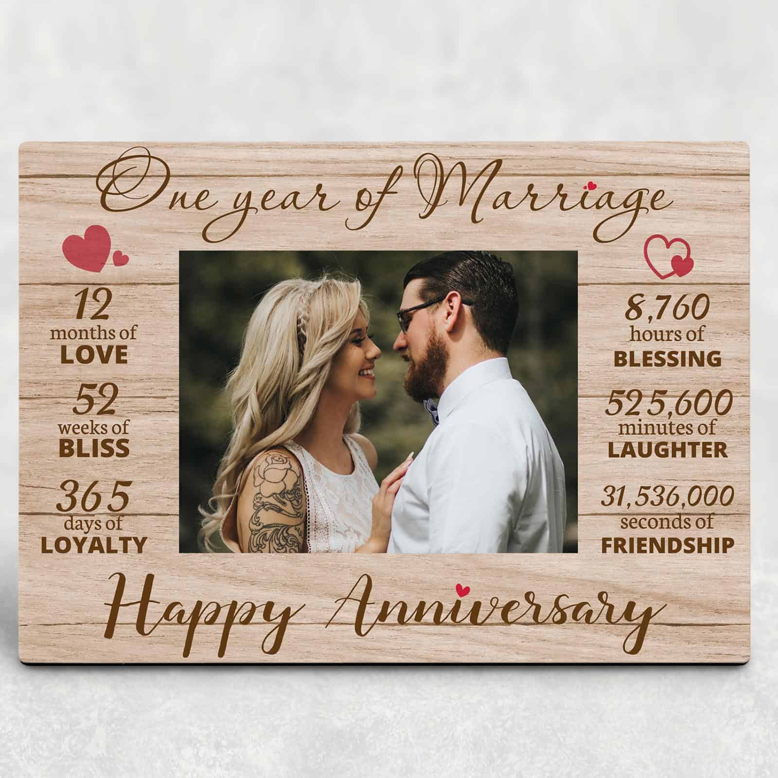 One Year of Marriage Anniversary Custom Photo Plaque