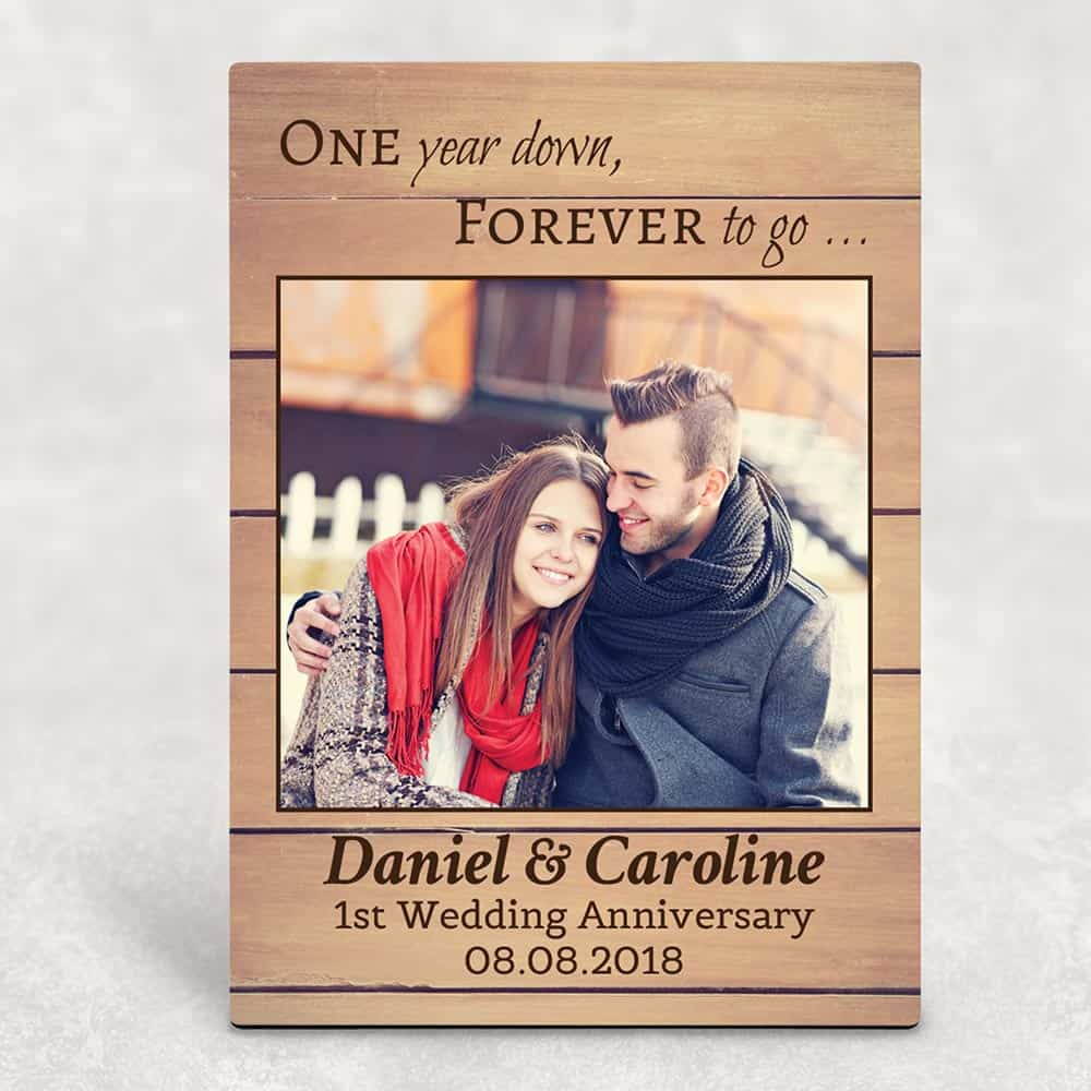 One Year Down Forever To Go custom photo plaque