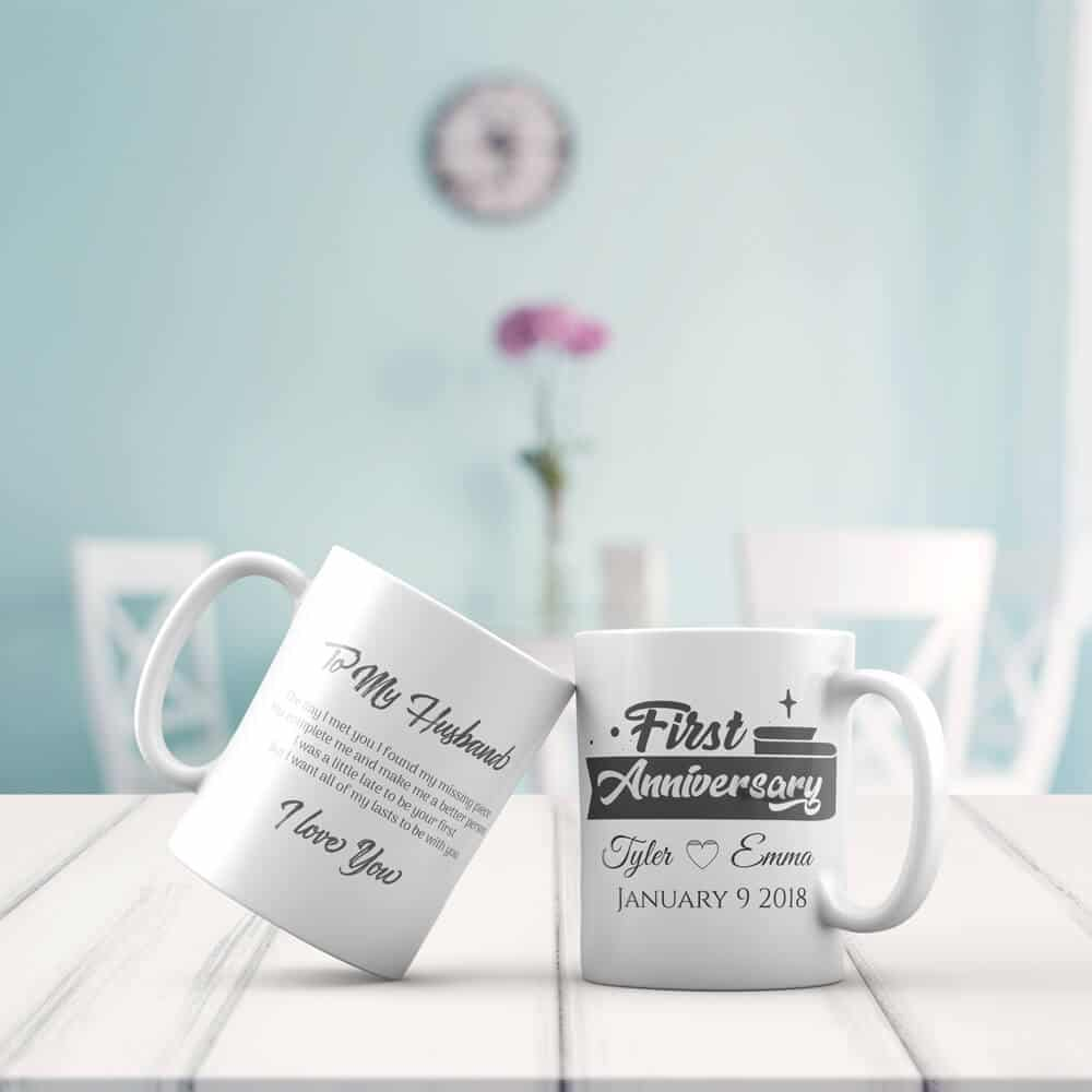 The Day I Met You I Found My Missing Piece Mug - 1st Anniversary Gift For Husband