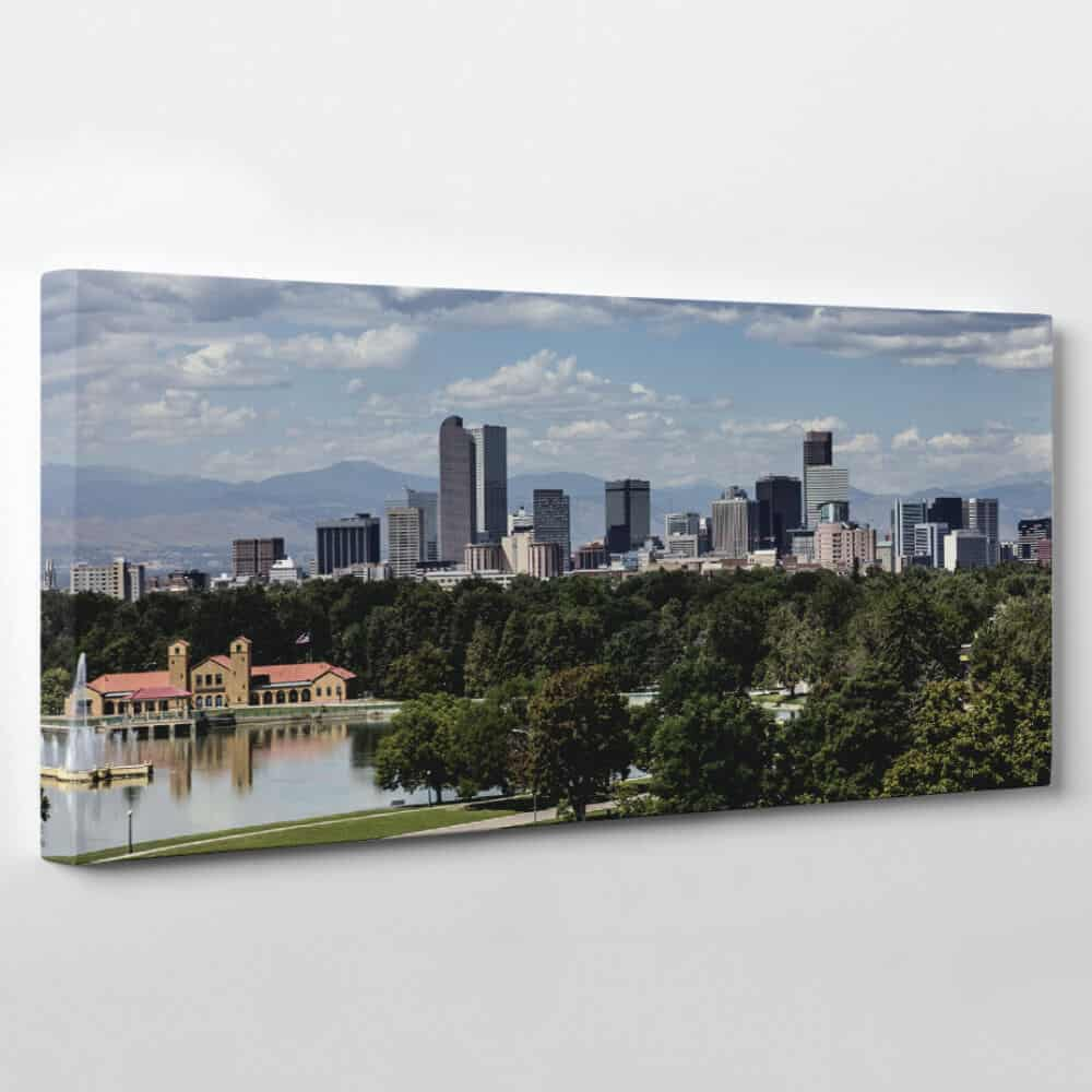 Denver, Colorado Skyline Canvas Wall Art - park in the morning