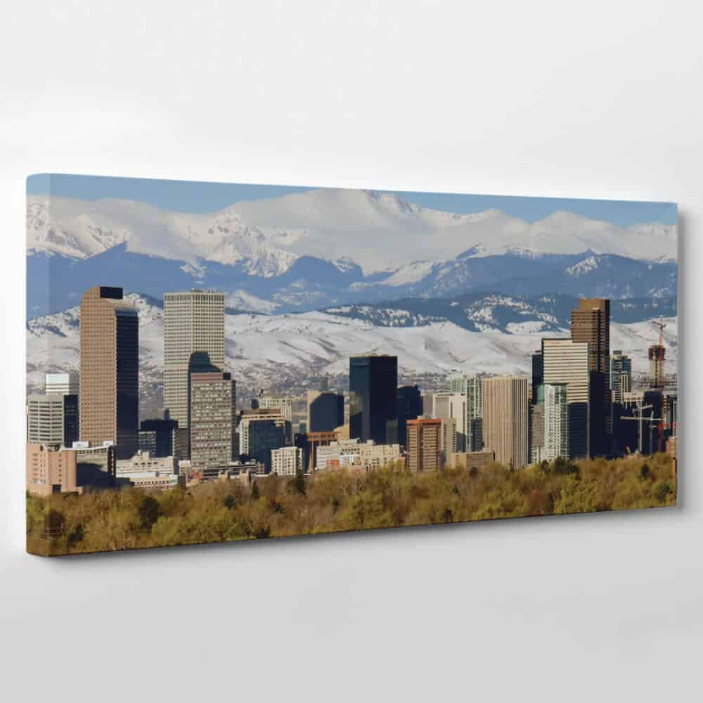 Denver, Colorado Skyline Canvas Wall Art - mountains