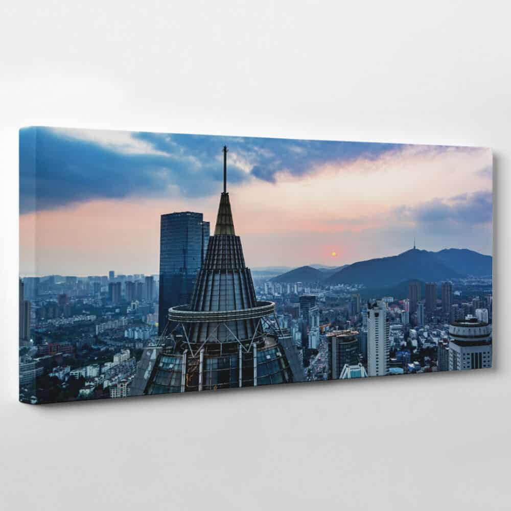 los angeles california skyline panoramic canvas wall art
