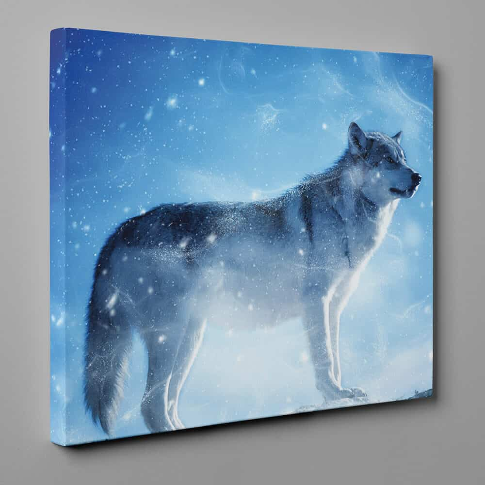 Gray Wolf Standing In Winter Canvas Wall Art