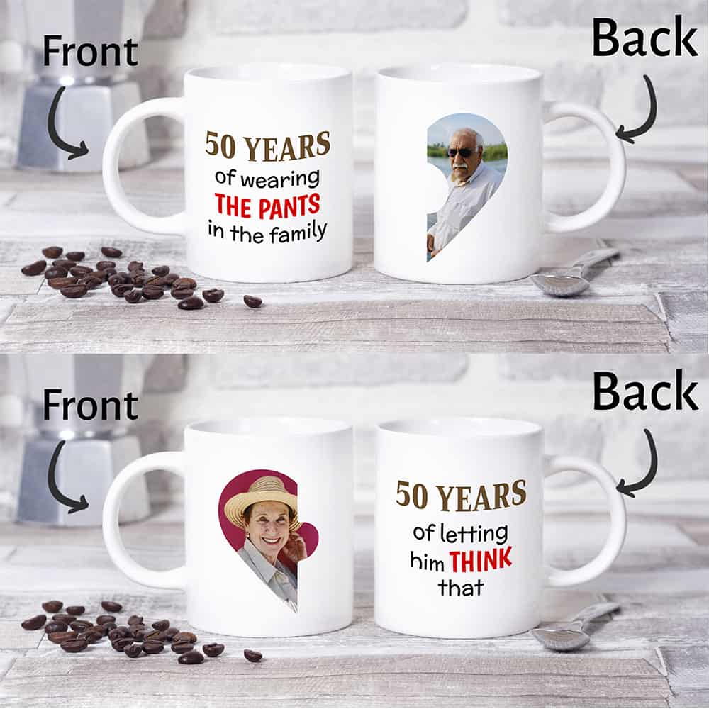 50 years 50th anniversary gift custom photo mug