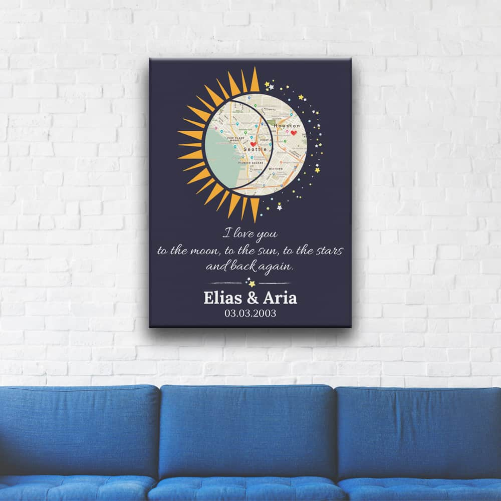 I Love You To The Moon And Back Custom Map Canvas Print Above A Sofa