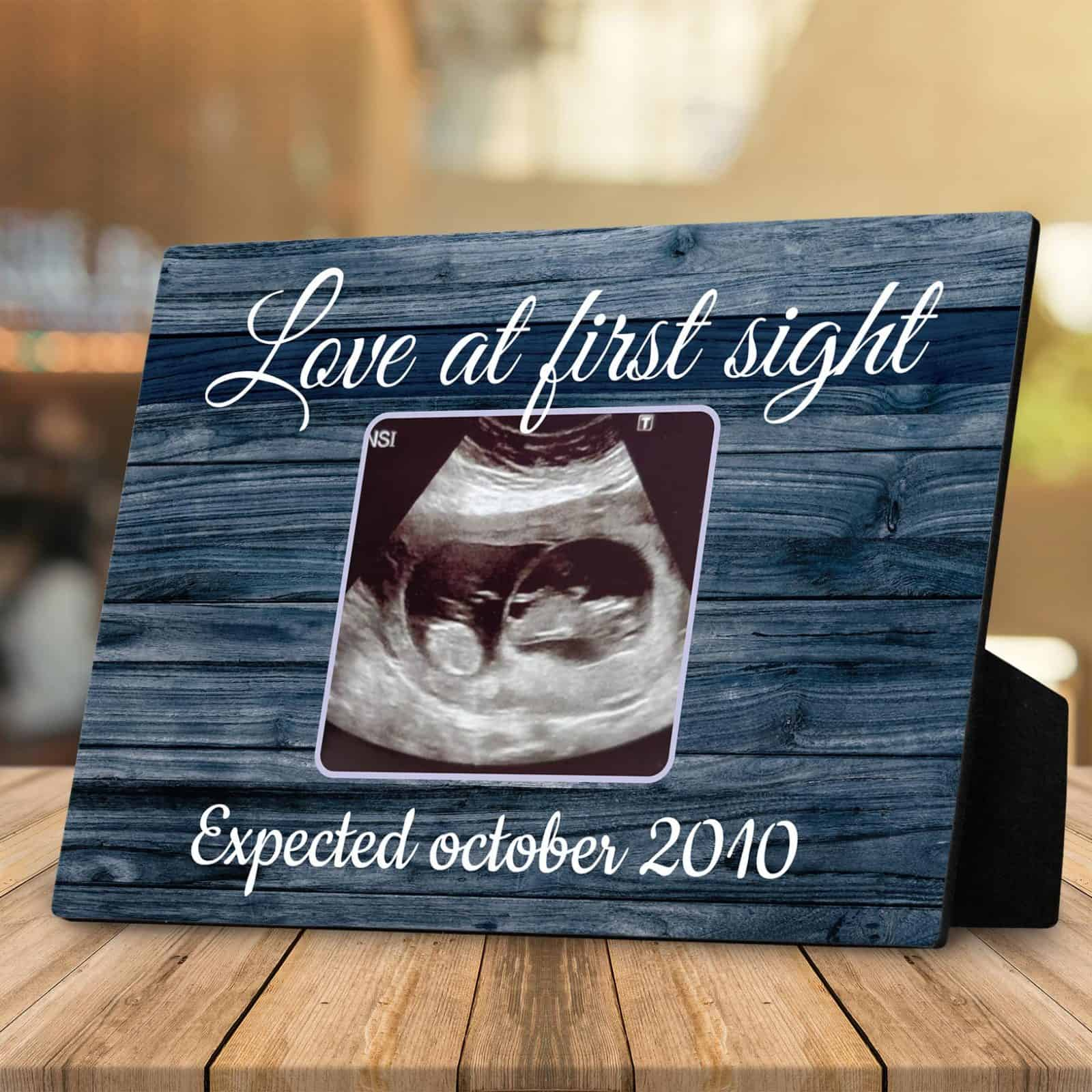 Love At The First Sight Sonogram Desktop Photo Plaque