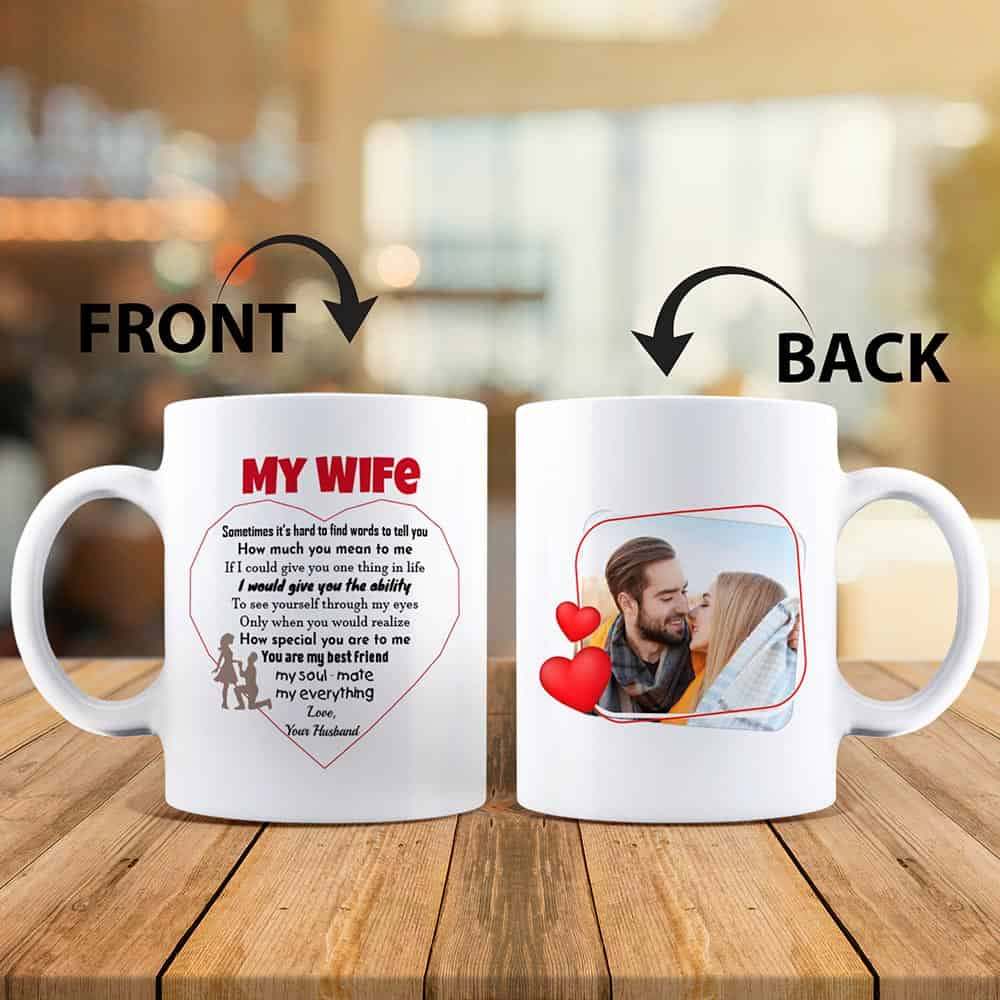 to my wife custom photo mug