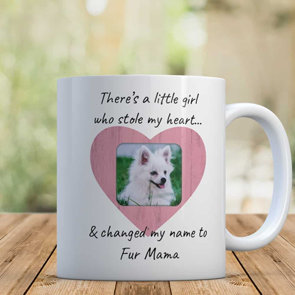 Fur Mama Custom Photo Mug - There's a little girl who stole my heart and changed my name to fur mama