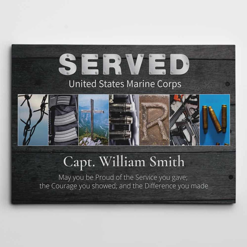Veteran Custom Branch & Name Canvas Print With Letter Art, Veterans Day Gift