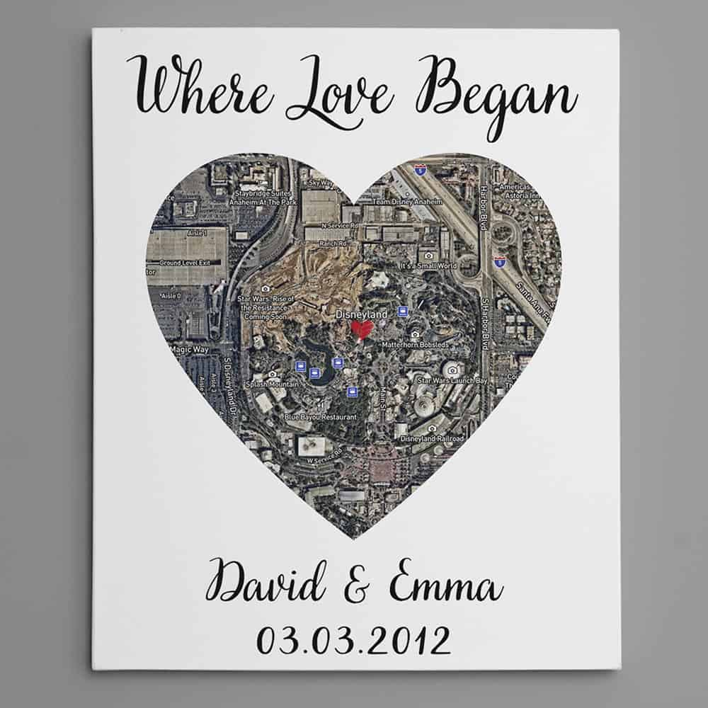 where it all began custom one heart map art canvas print