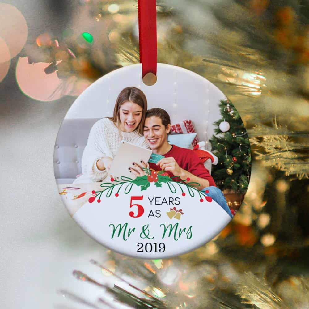 5 years as mr and mrs custom photo ornament - anniversary & christmas gift idea for couples