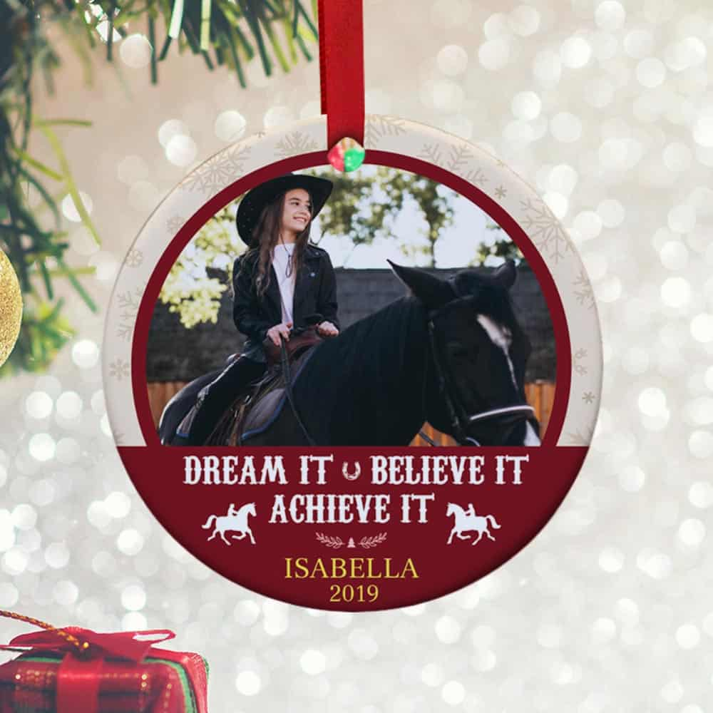 Dream It Believe It Achieve It Personalized Ornament - cool christmas ornament, gift idea for horse lovers