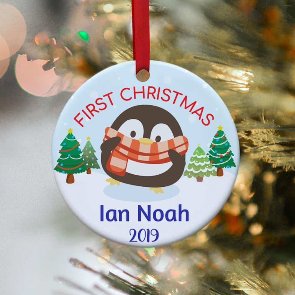 Baby's First Christmas Penguin Ornament - Personalized Ornament