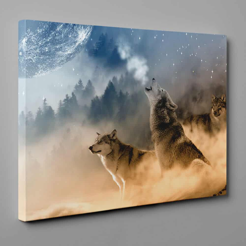 A Wolf Pack Howling At The Moon Canvas Wall Art