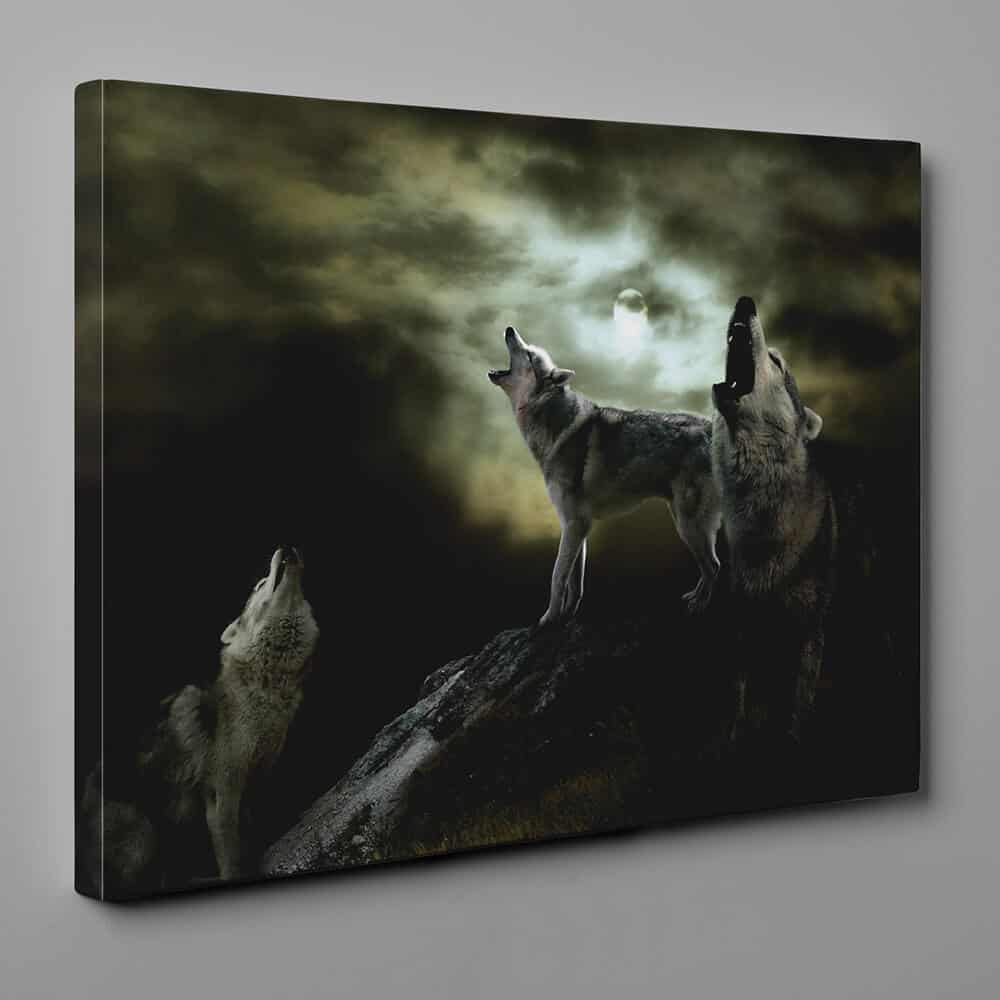 Wolves Howling At The Moon Canvas Wall Art