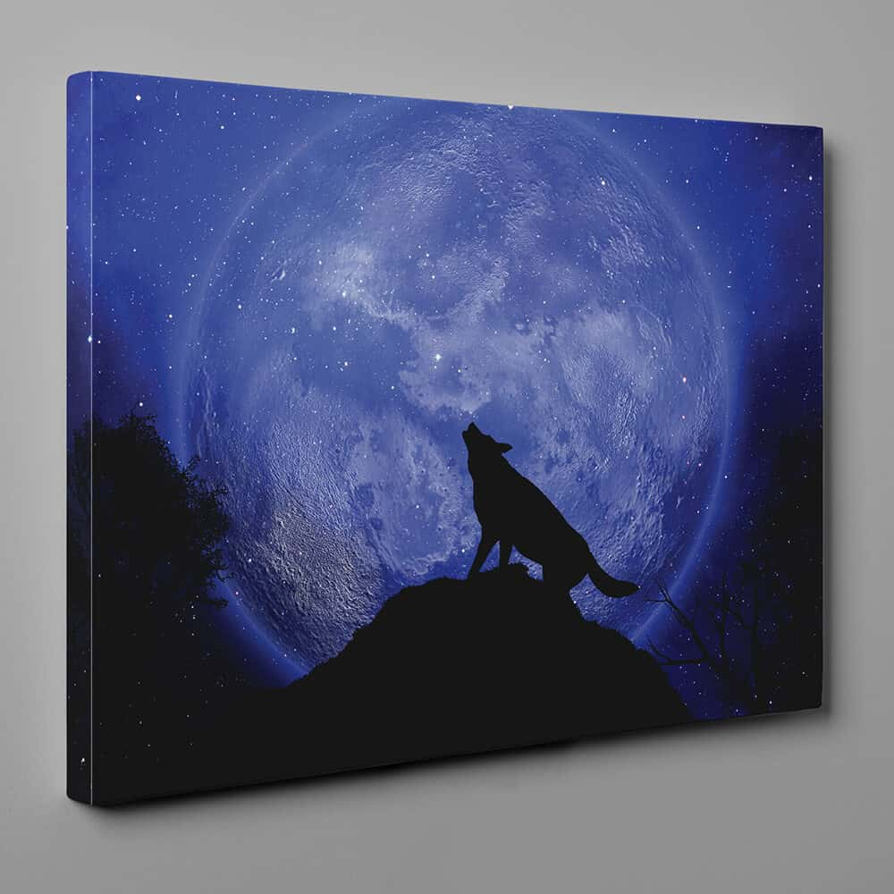 Wolf Howling At The Moon Silhouette Canvas Wall Art