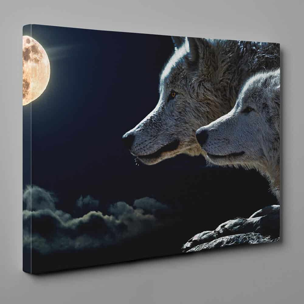 Wolf Couple At Full Moon Canvas Wall Art