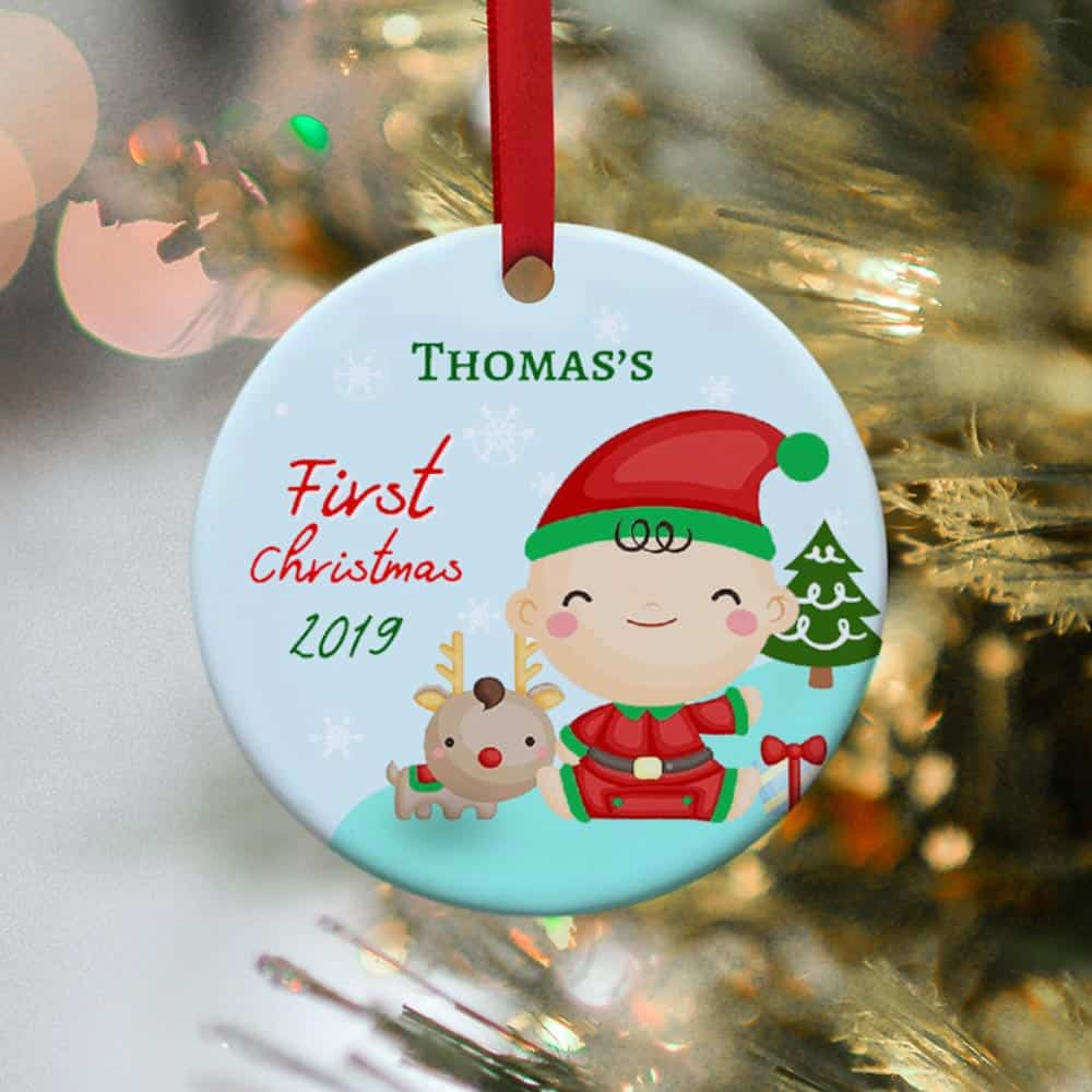 Baby's First Christmas Custom Name Ornament 2019