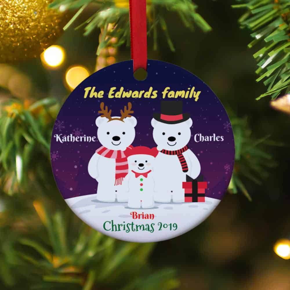 polar bear. white bear family Personalized christmas ornament