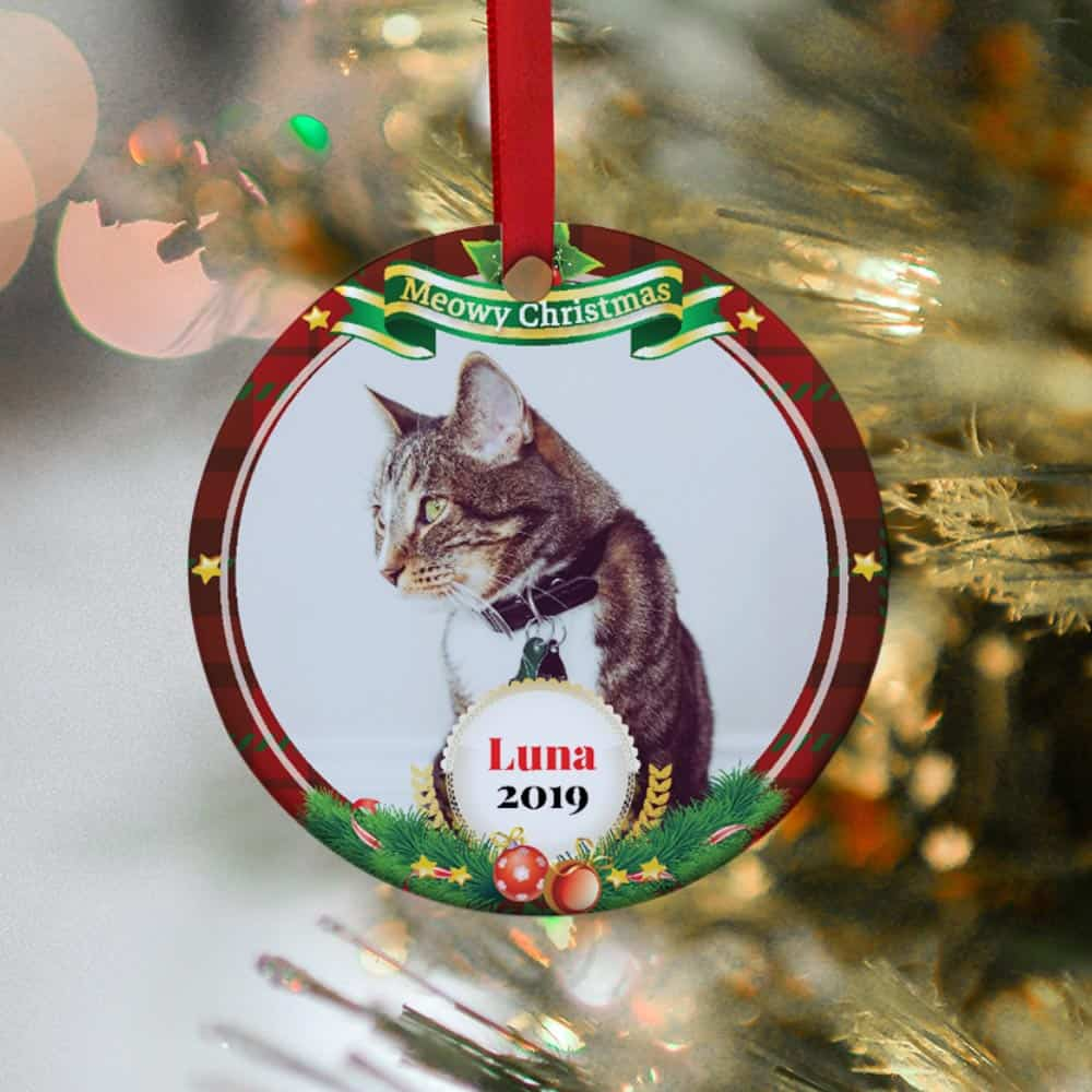cat personalized photo christmas ornament
