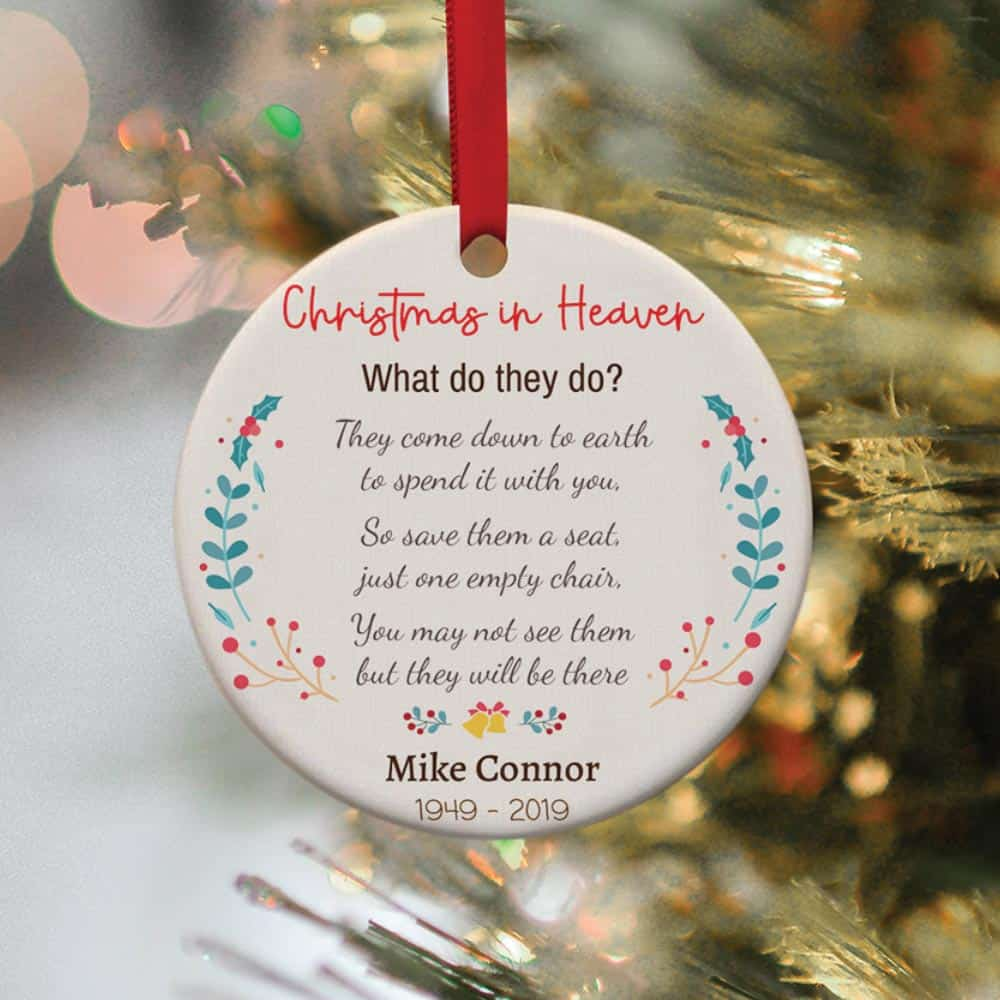 christmas in heaven custom name christmas ornament - memorial gift idea