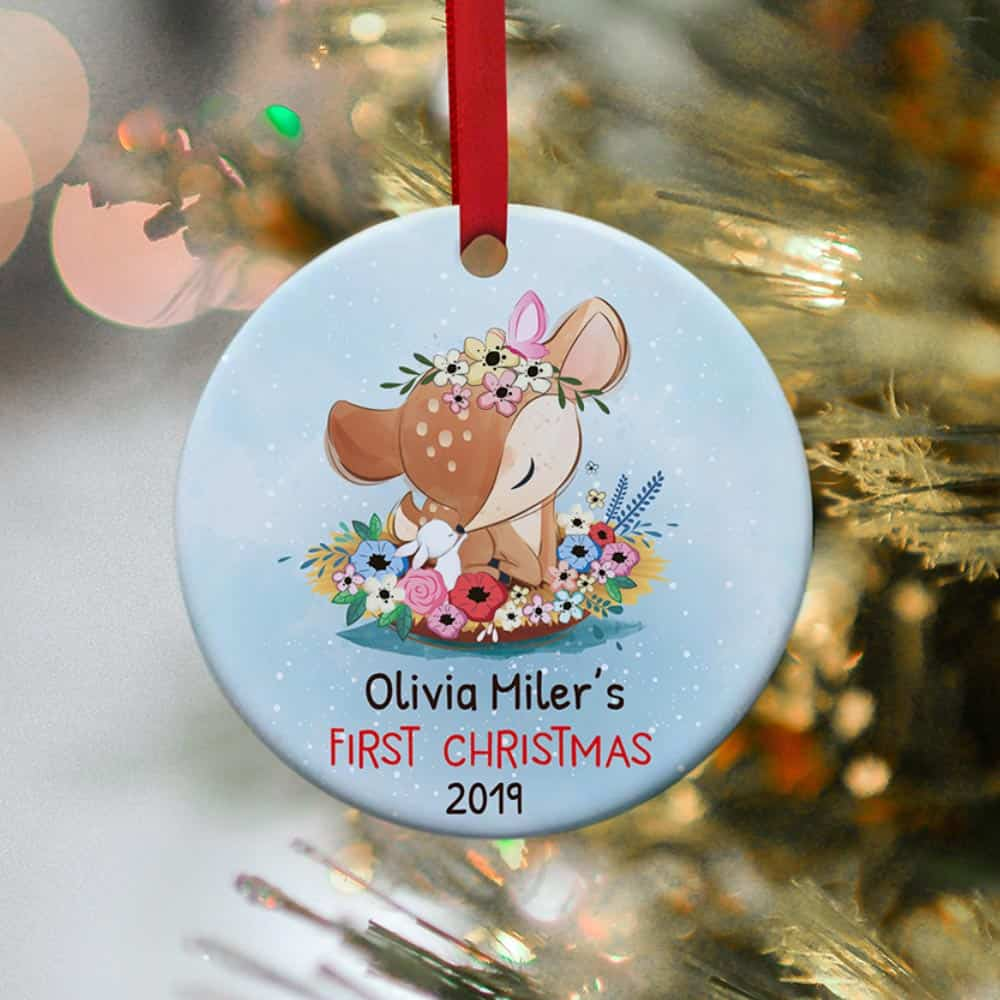 deer baby's first christmas ornament decor idea