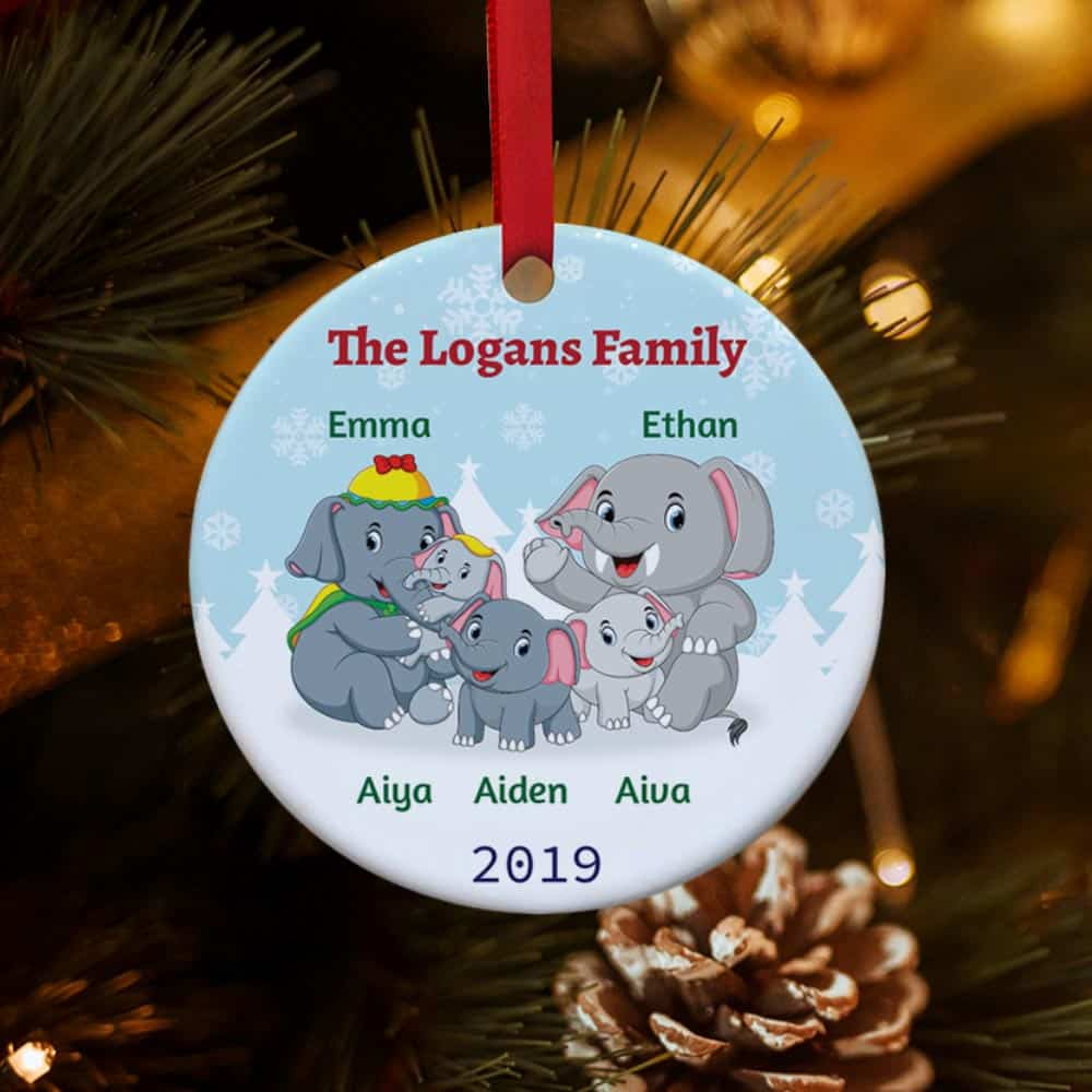 Elephant Family Personalized Christmas Ornament