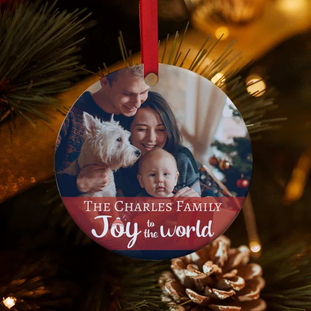 joy to the world personalized family christmas ornament - christmas gift idea