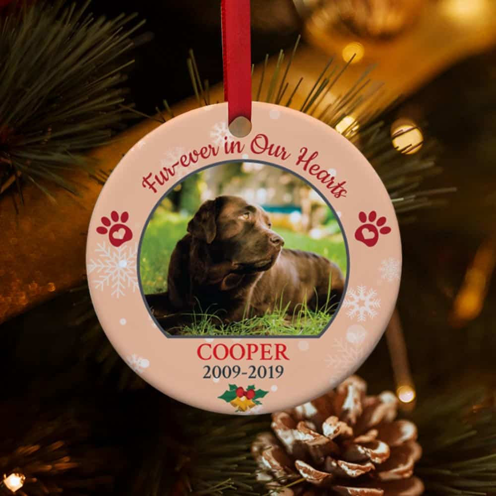 best friends furever (forever) in our hearts - dog photo christmas ornament - gift idea for pet lovers