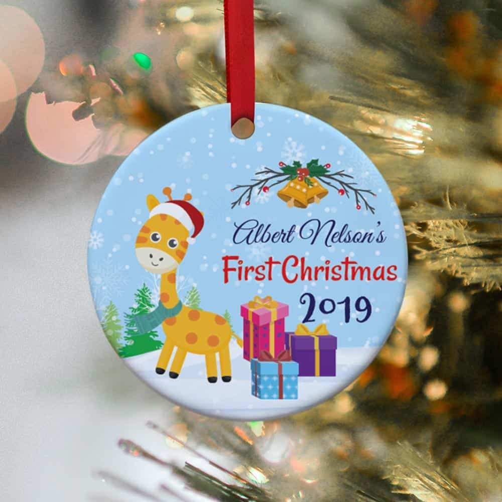 Baby's First Christmas Giraffe Personalized Ornament