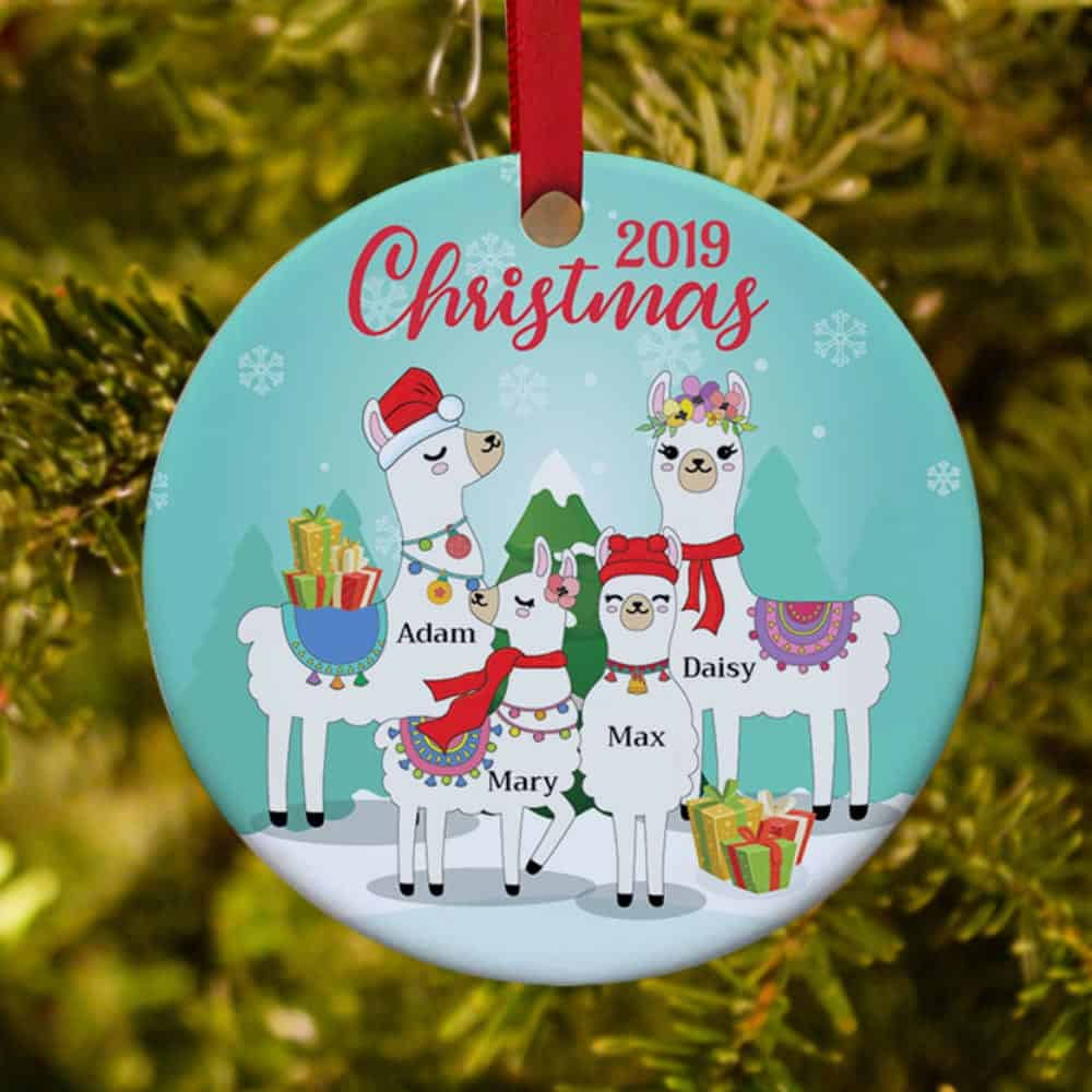 Llama Family Personalized Christmas Ornament | 365Canvas