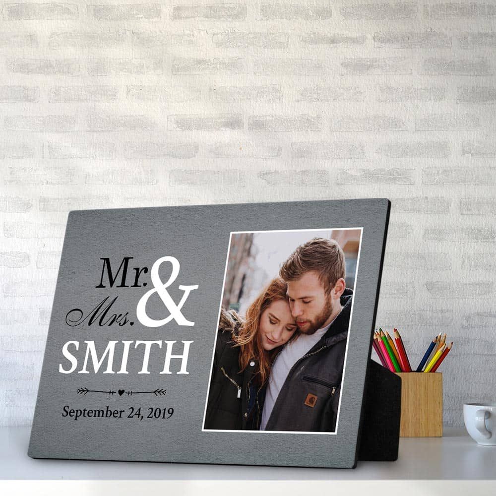 mr and mrs custom desktop photo plaque - anniversary gift for him or her