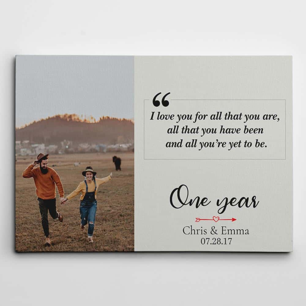 i love you for all that you are - custom photo canvas print - first anniversary gift idea